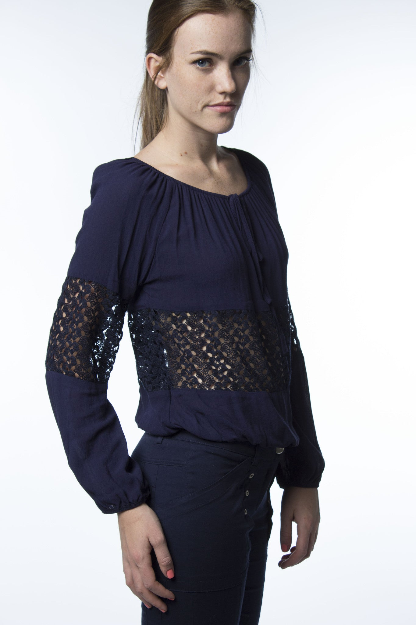 navy blue top with lace inserted panels