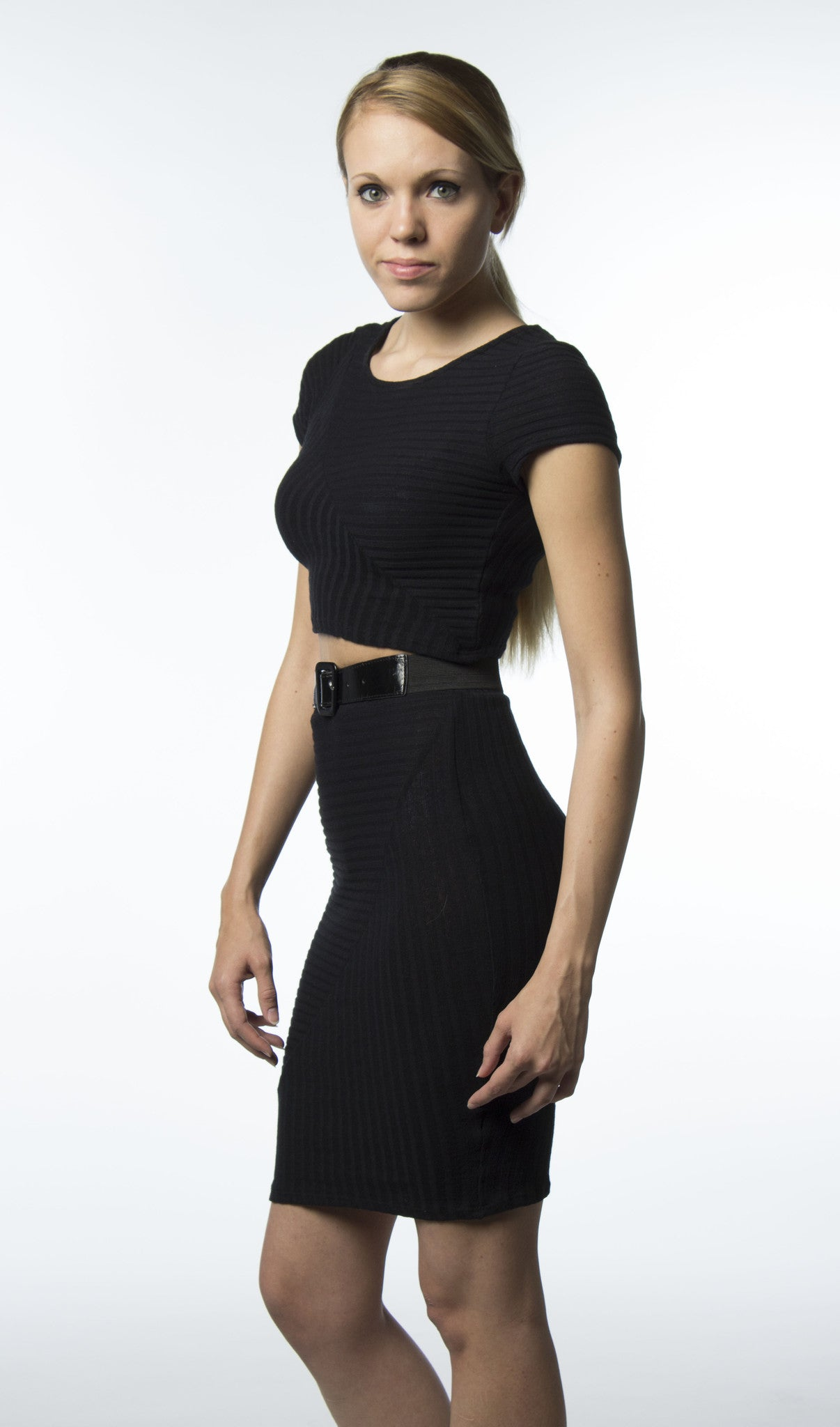 black ribbed skirt with crop top