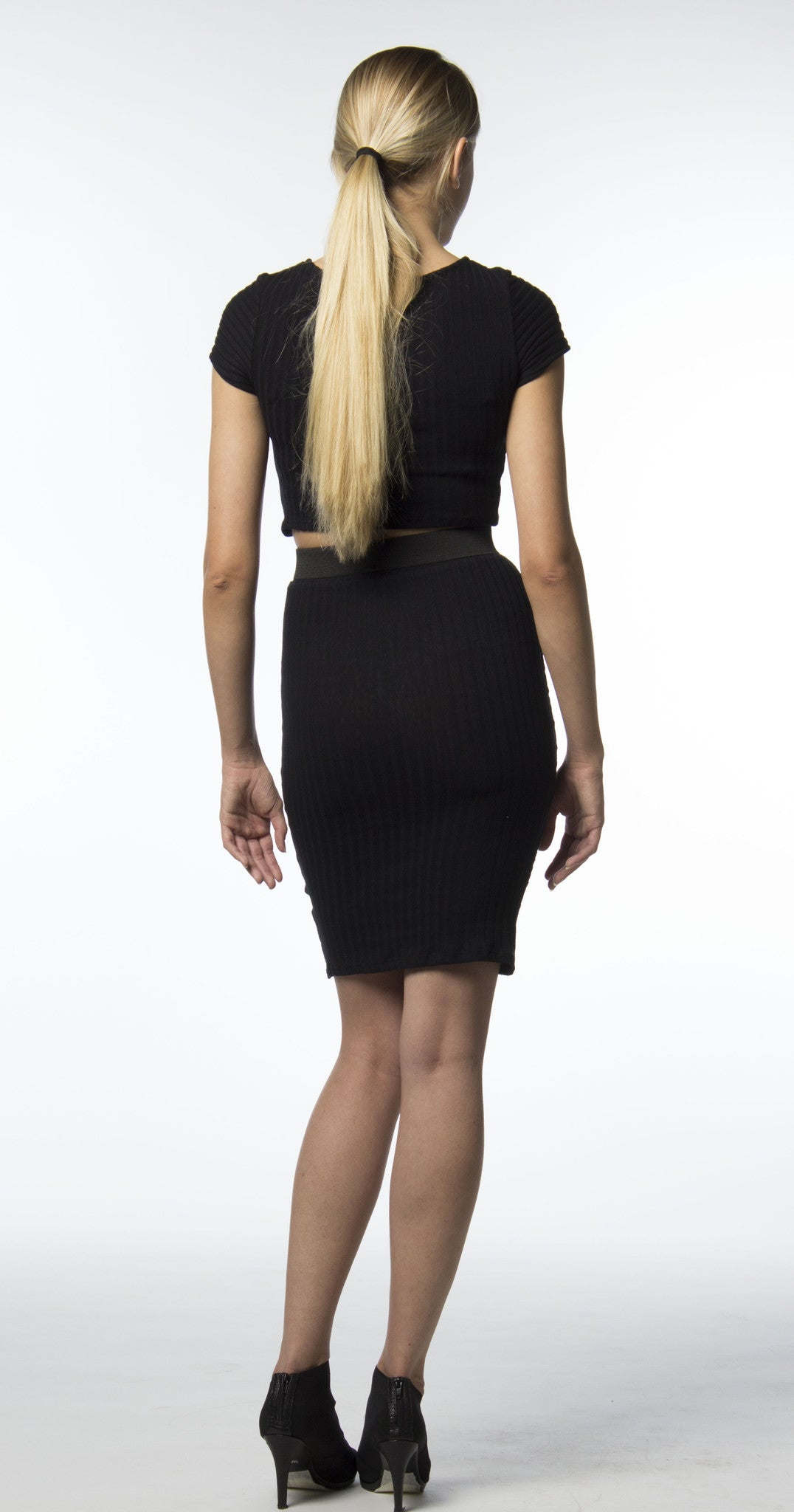 ribbed cotton in black two piece skirt crop top