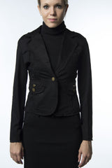 black cotton jacket with corset back tie