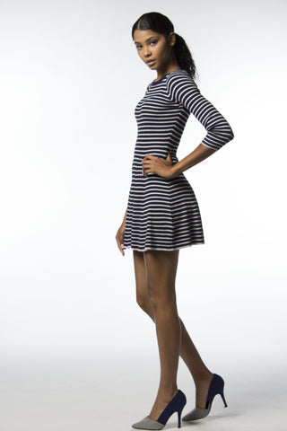 Navy - Grey Stripe Skater Dress