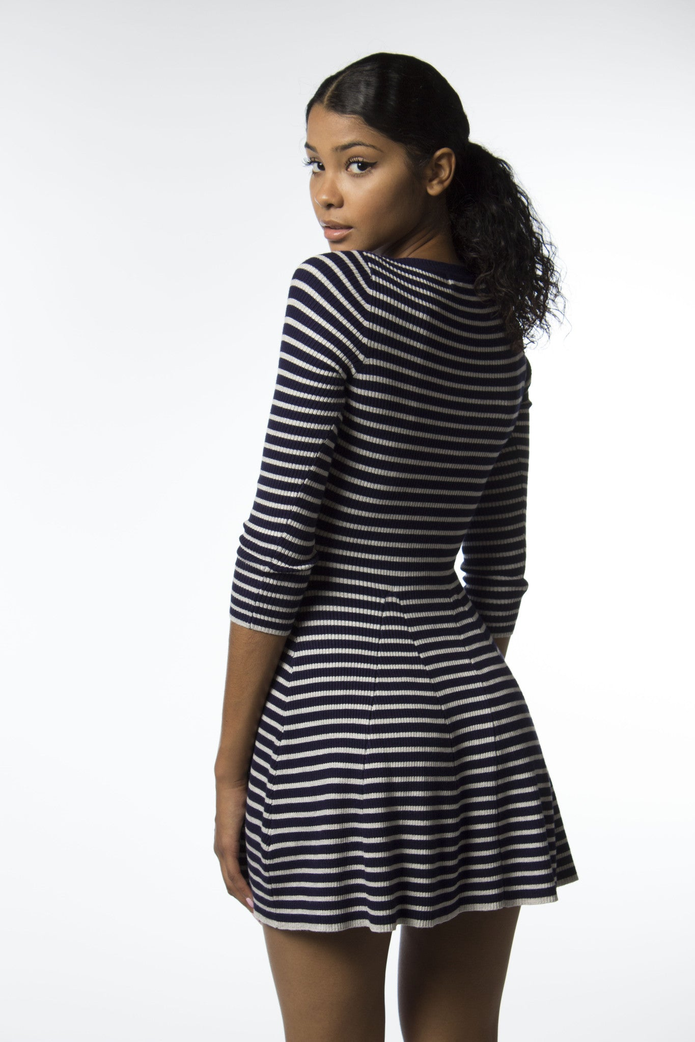 navy and grey stripe dress