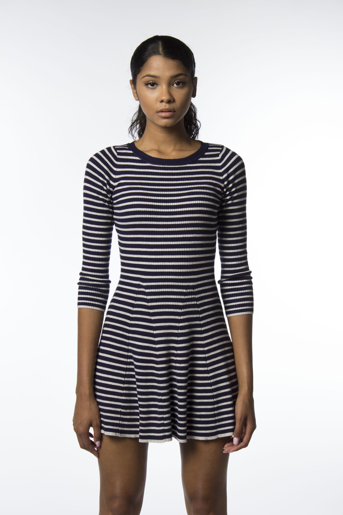 grey and navy stripe dress