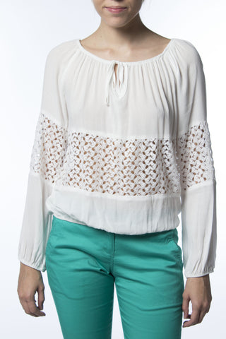 White Blouse With Lace Midriff
