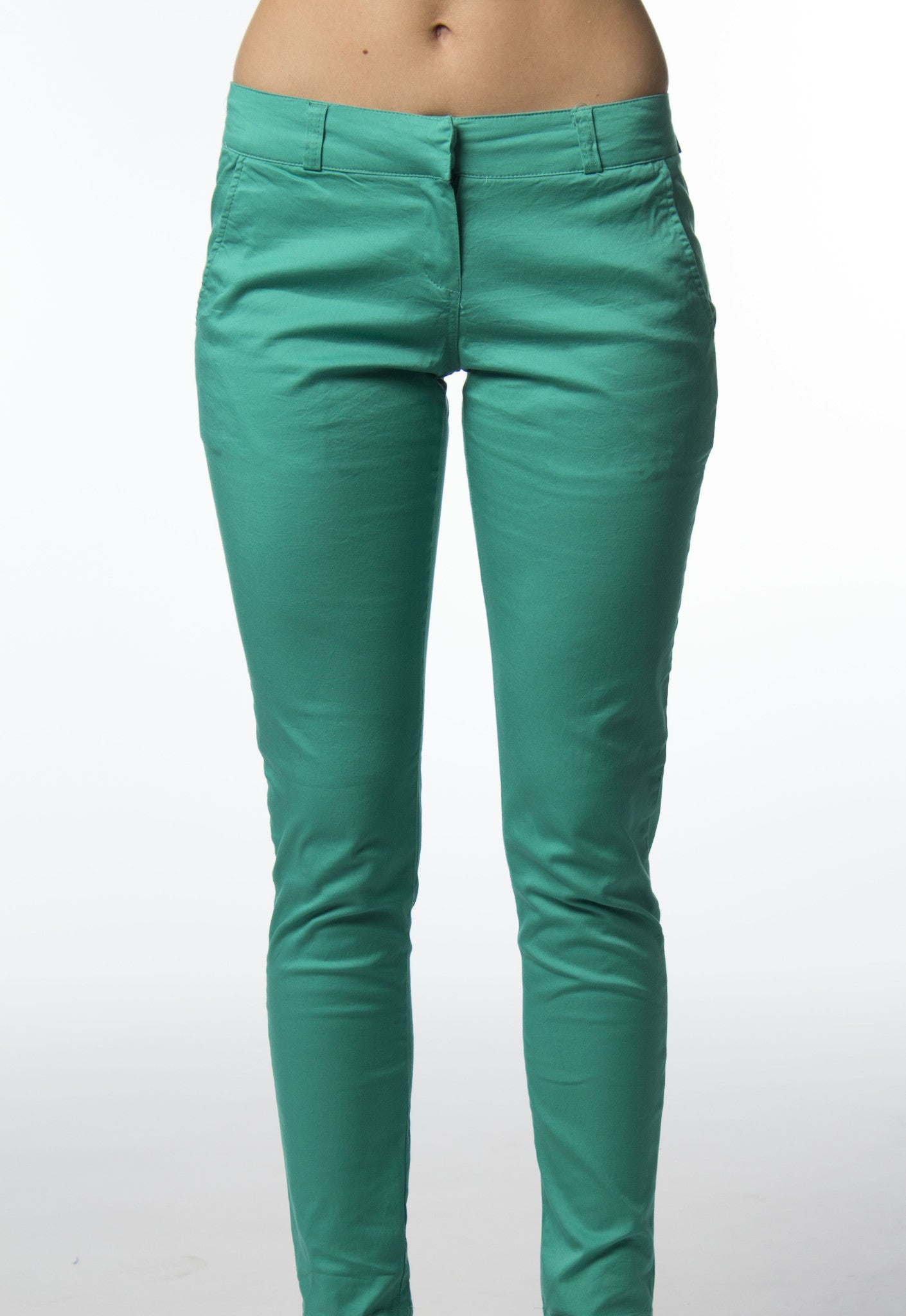 Cotton skinny pant in cool green color