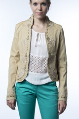 beige studded jacket