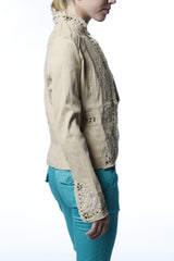crinkled cotton jacket with studs