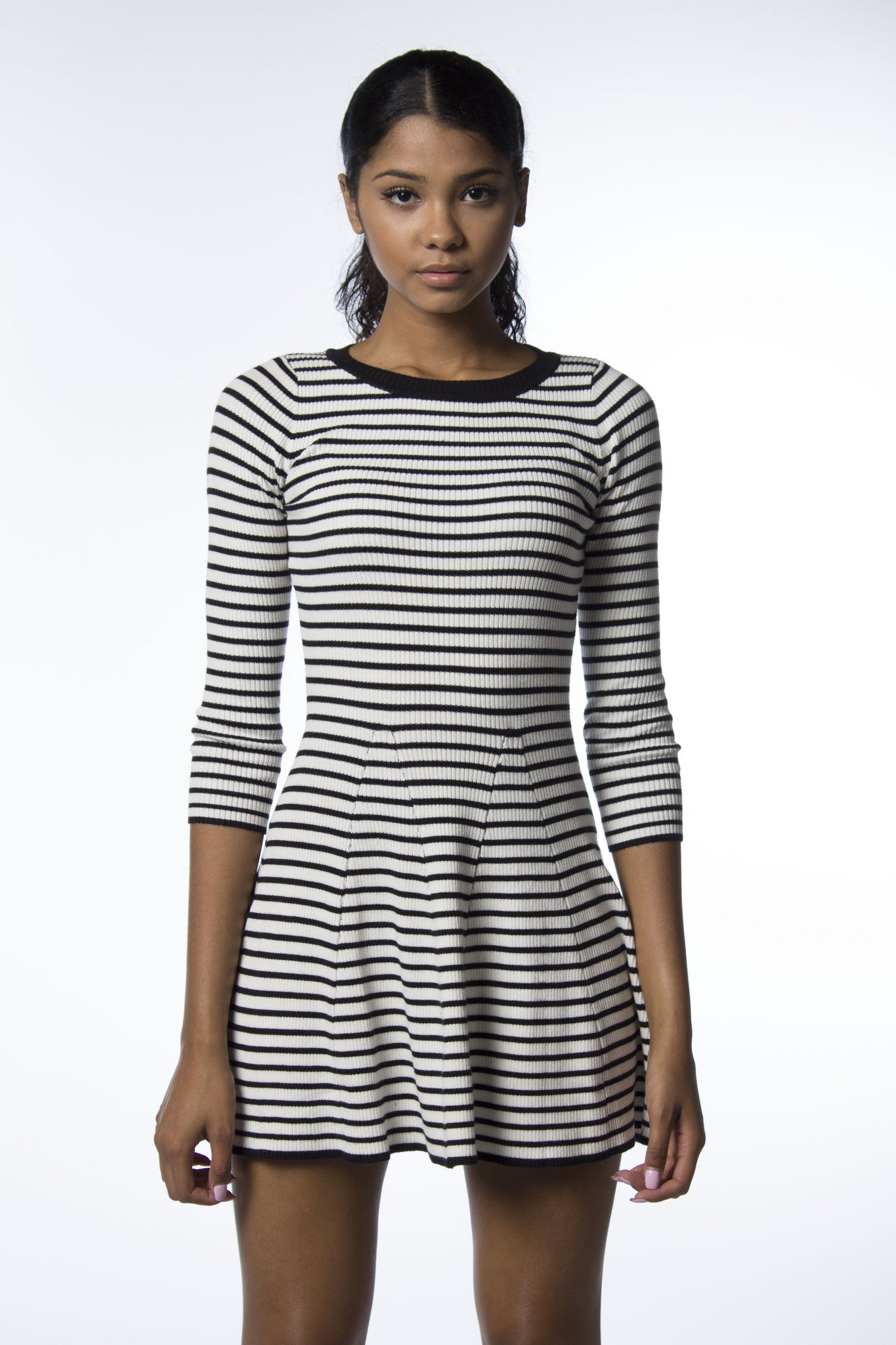 black and white striped sweater dress