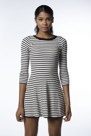 Sporty Stripe Skater Sweater Dress