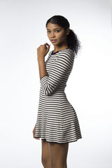 scuba sweater dress black and white stripes