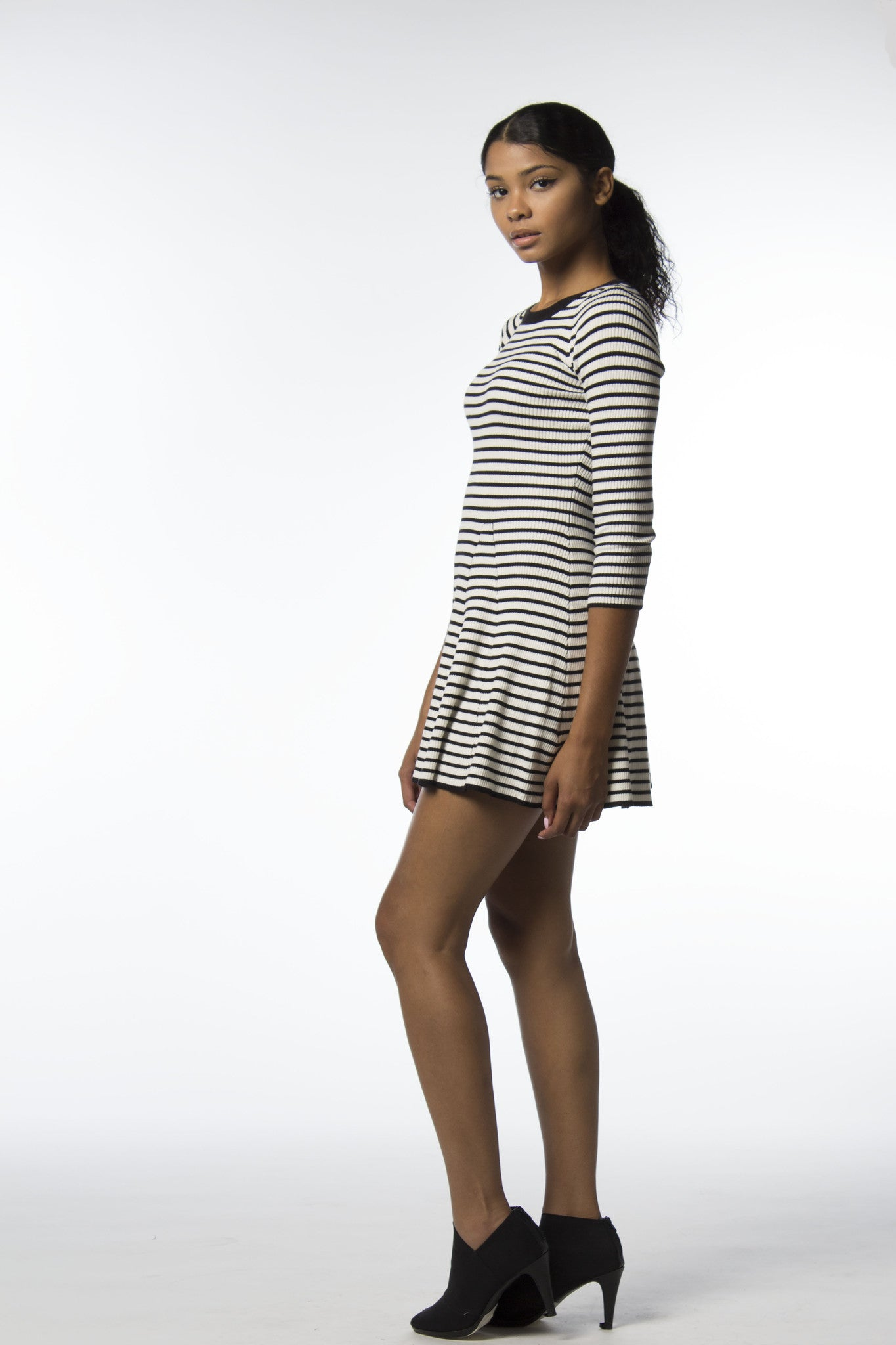 Sporty Stripe Skater Sweater Dress-333