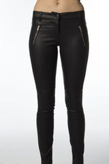 cotton leather black pant
