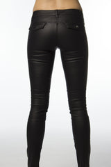 coated cotton black pants