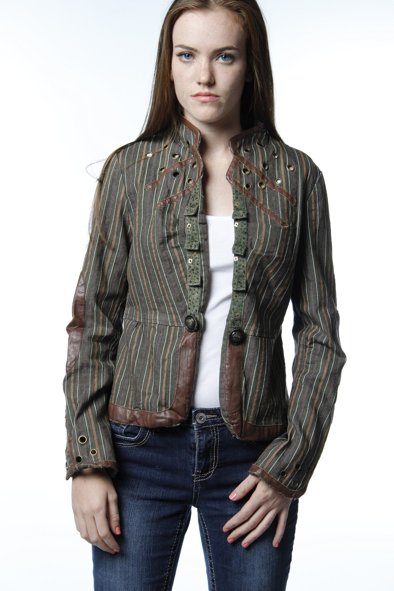 Brown Leather Trim Tailored Jacket-523