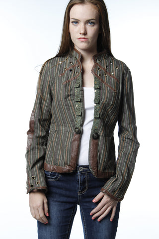 Brown Leather Trim Tailored Jacket