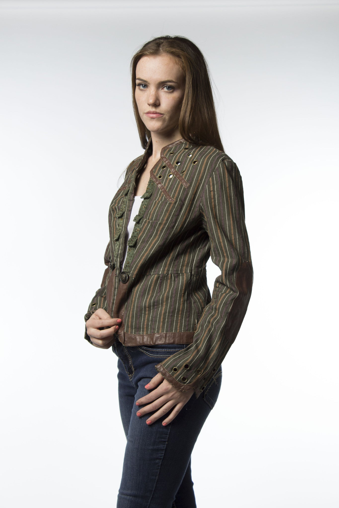 olive green with stripes cotton jacket