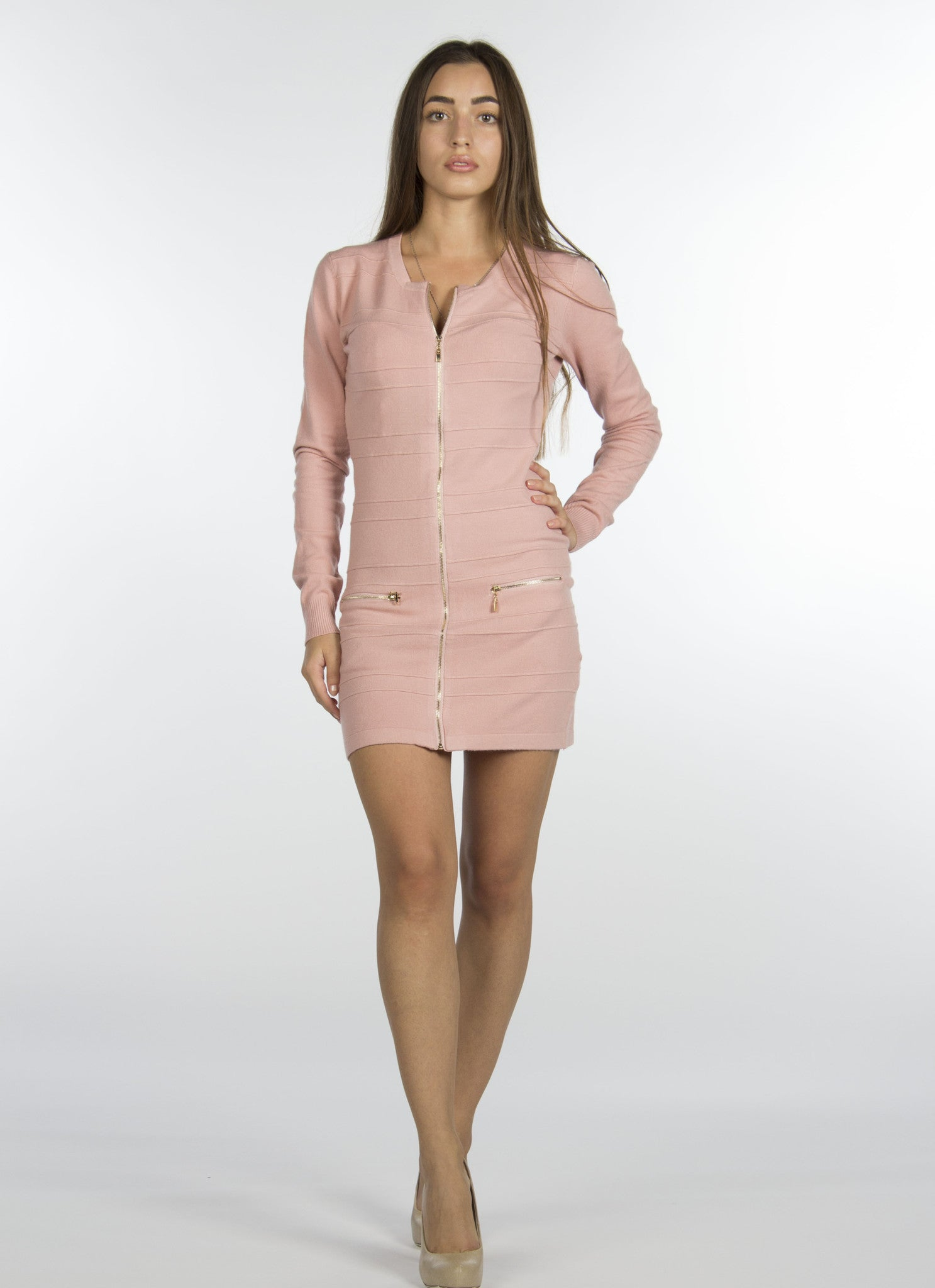 Soft Pink Zipper Dress-330