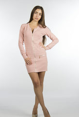 Pink dress with gold zippers