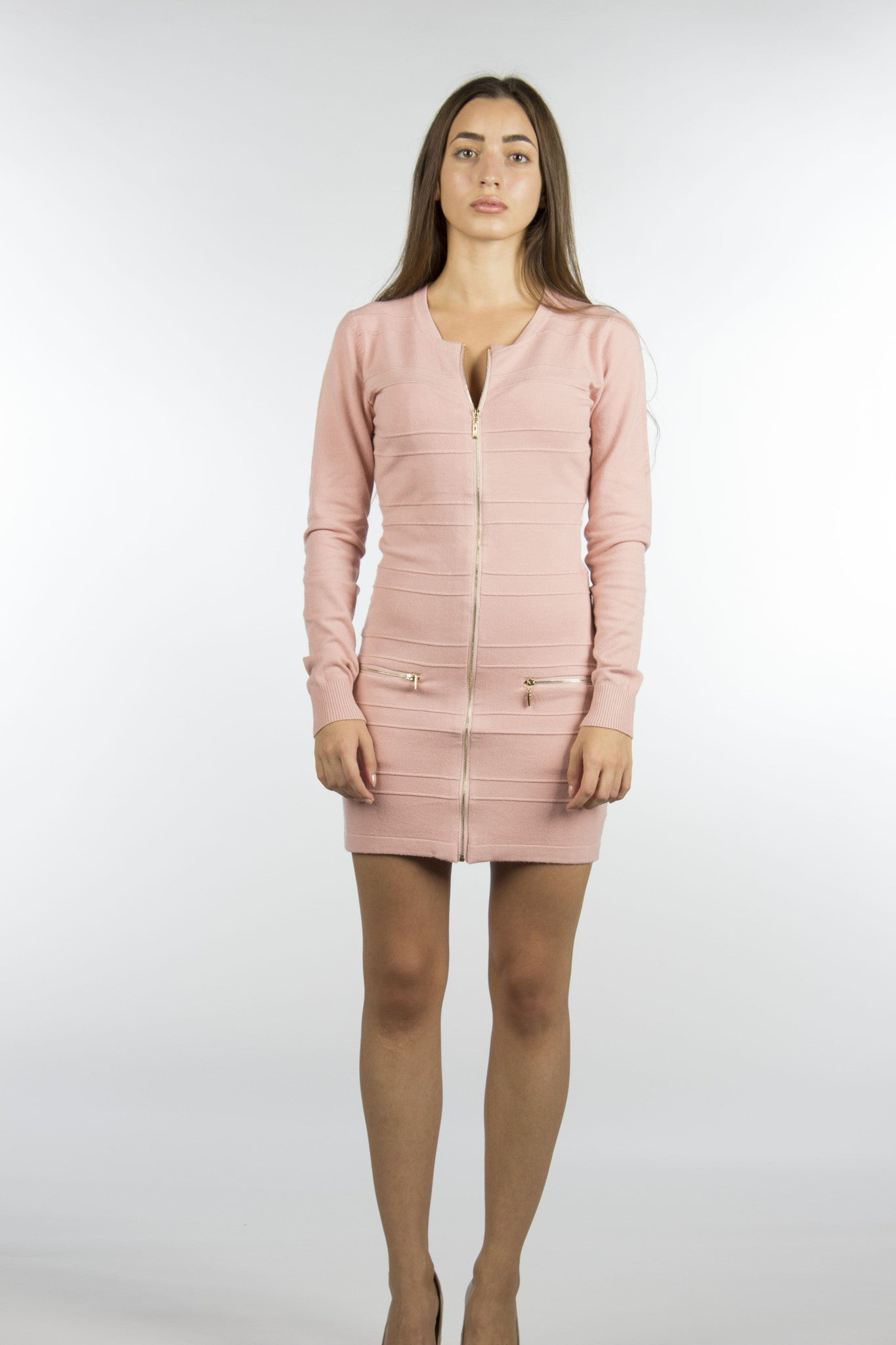 Pink bodycon sweater dress with gold zippers