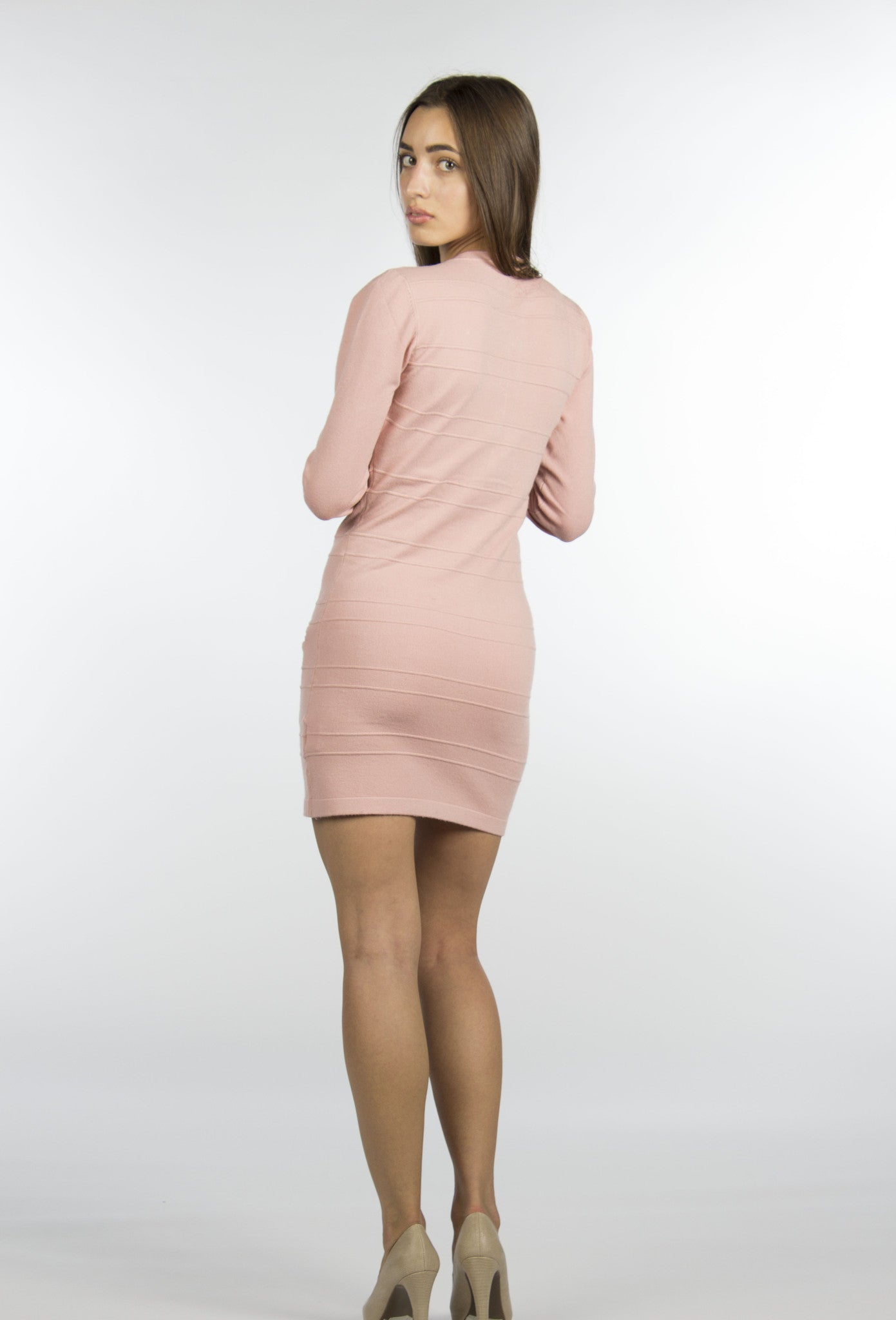pink dress long sleeve with zipper in front