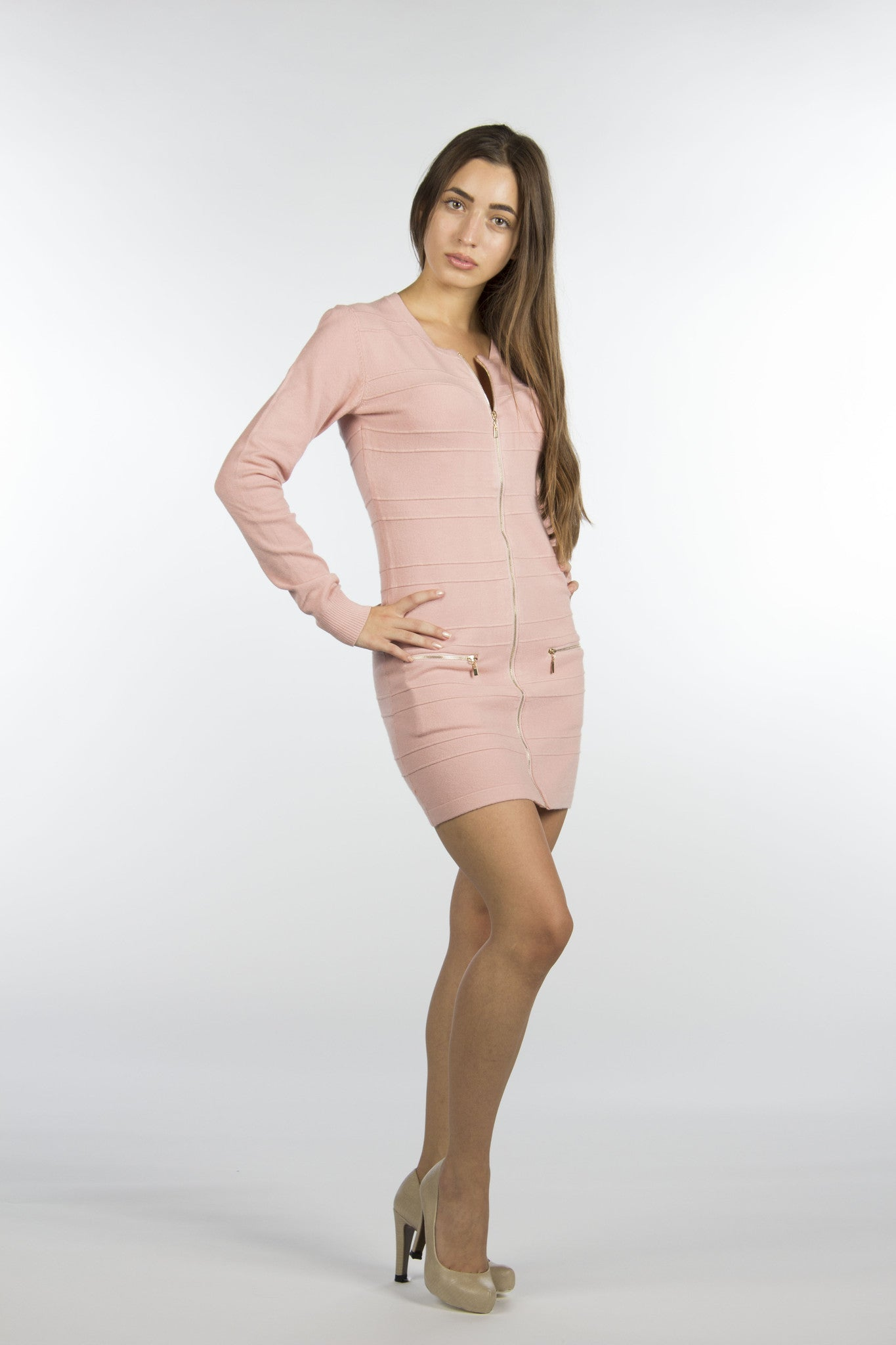 pink bodycon gold zipper dress