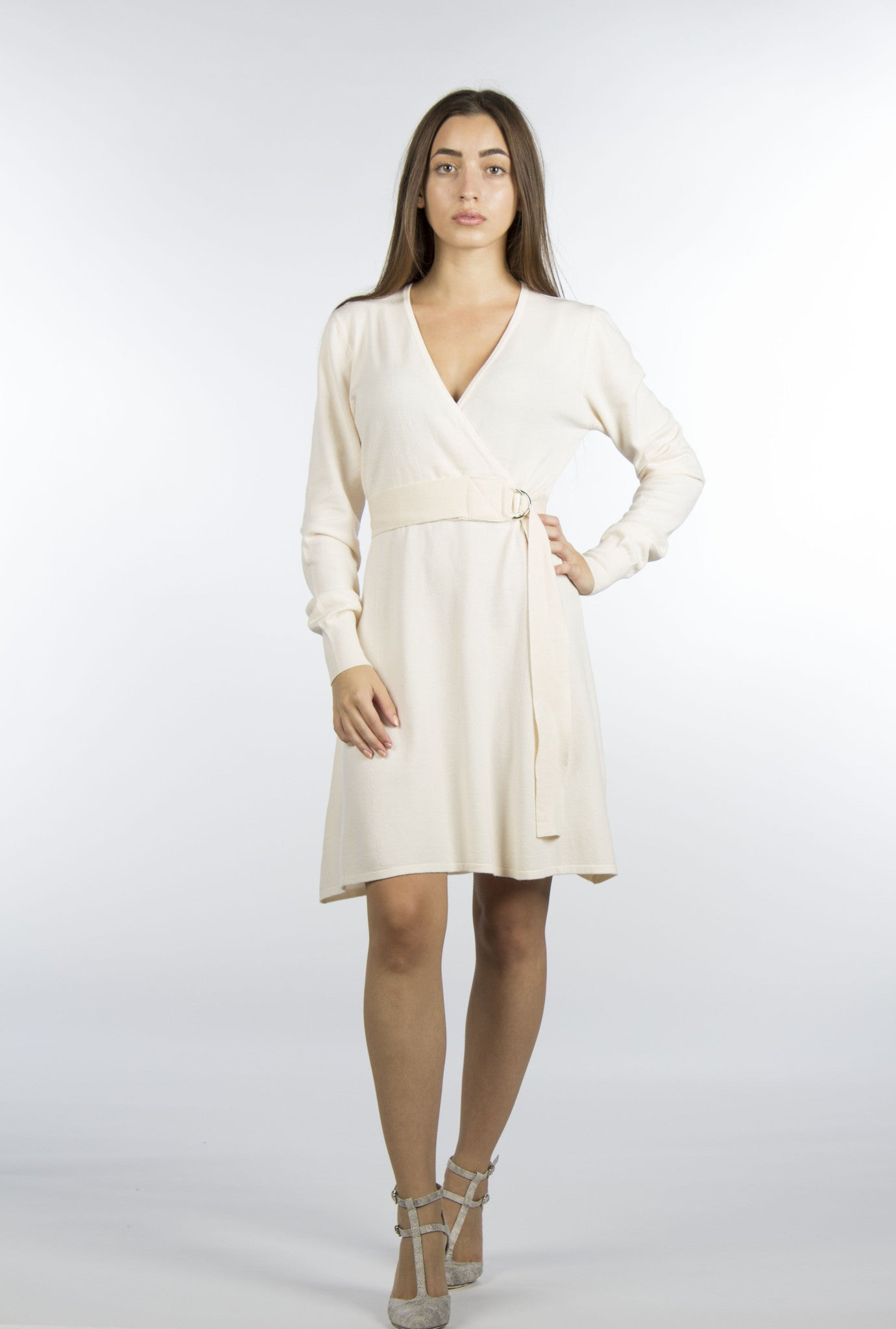 Cream wrap dress belted