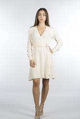 cream beige sweater wrap dress