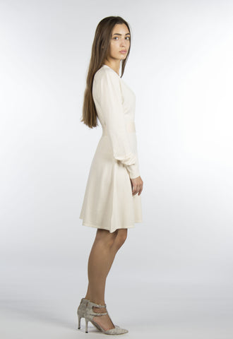 Cream Sweater Wrap Dress