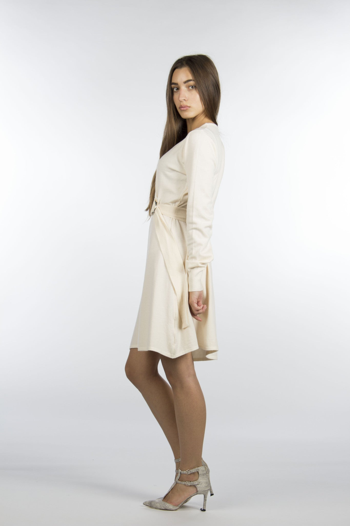 Beige cream sweater wrap dress