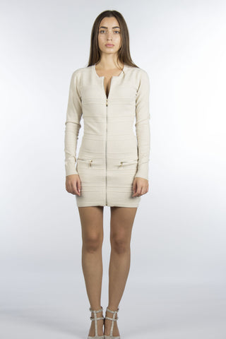 Front Zipper Cream Sweater Dress