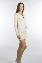 beige dress with front pockets and zippers