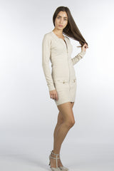 beige cream color dress with gold zippers