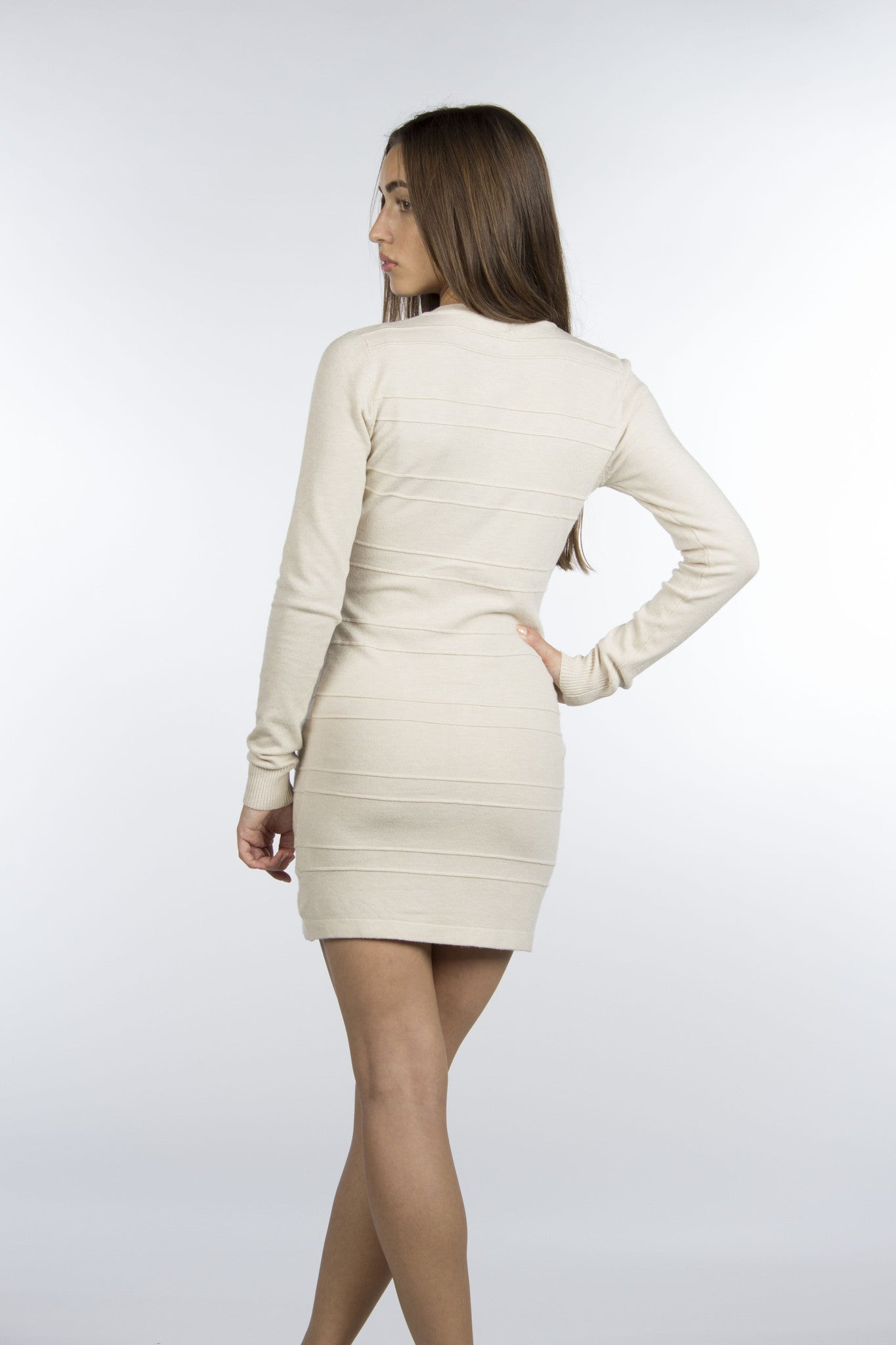 cream long sleeve short dress with zippers