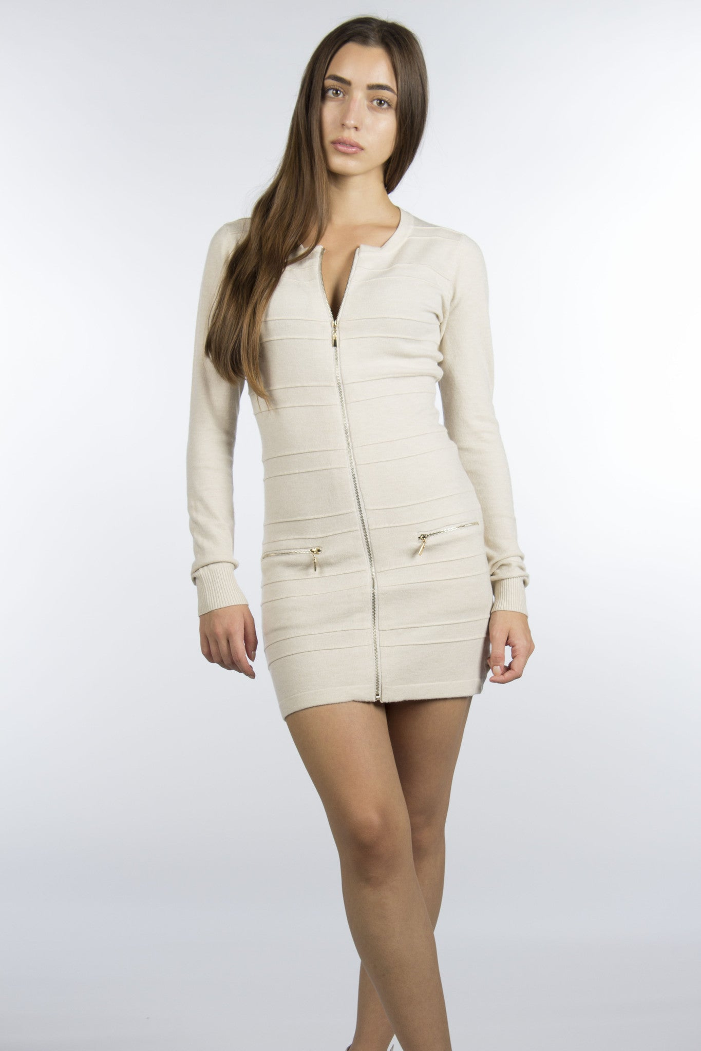 cream zipper dress