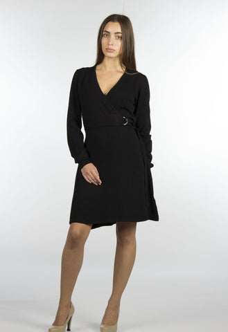 Black Wrap Sweater Dress