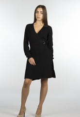 black wrap sweater dress with belt