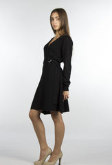 belted wrap sweater dress in black