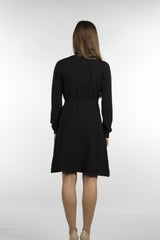 wrap sweater dress with belt in black