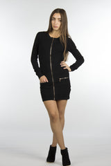 black front zipper dress