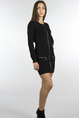black dress with front pocket with zippers