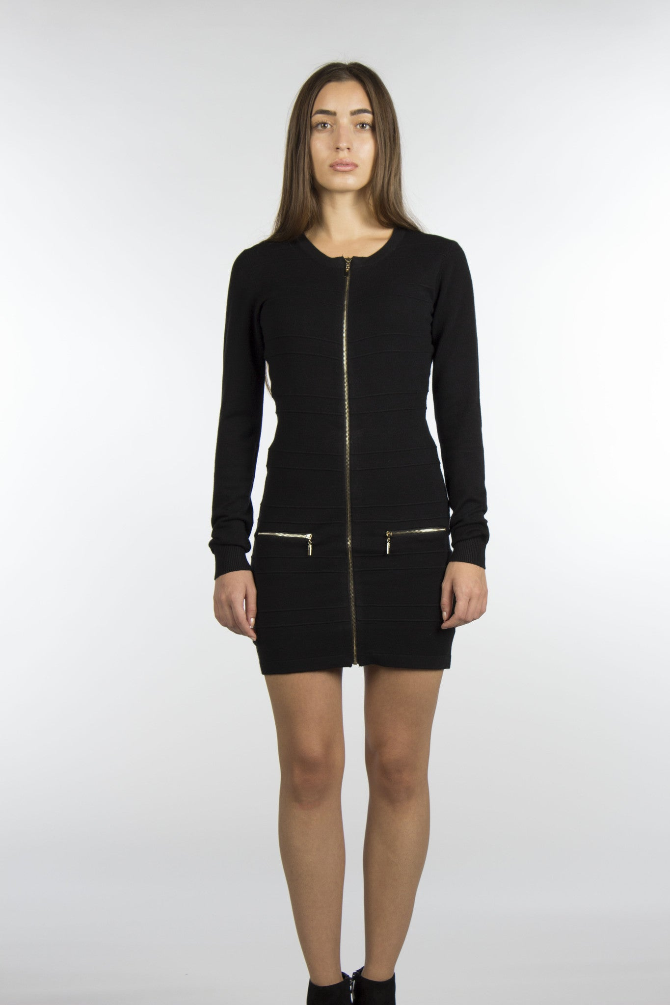 zipper black dress