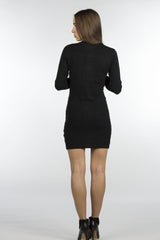 wool blend black bodycon sweater dress