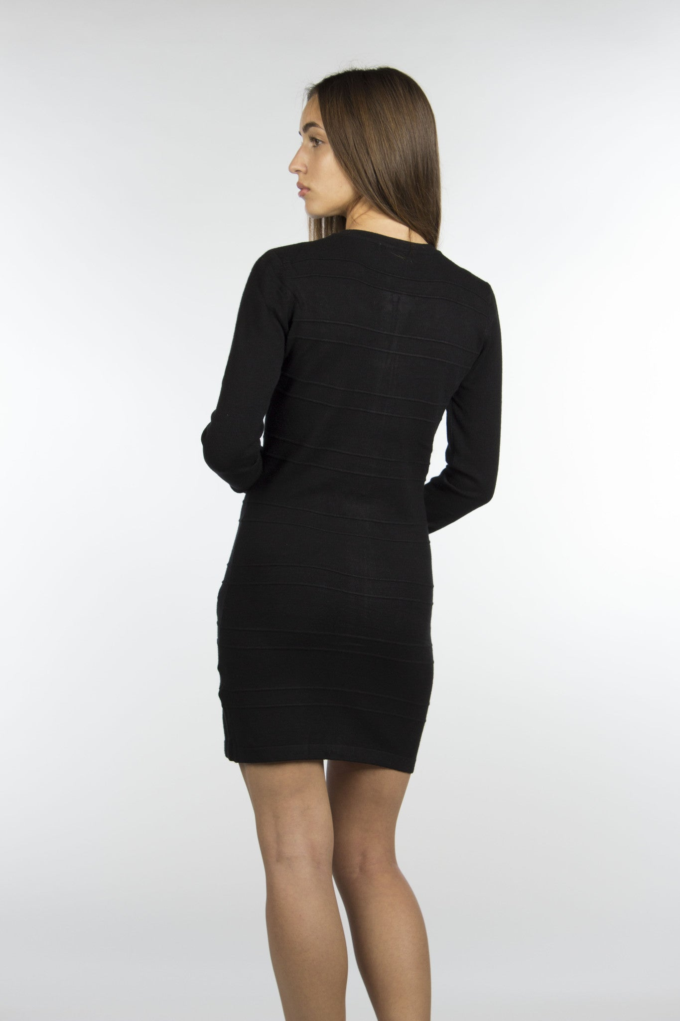 black sexy wool zipper dress