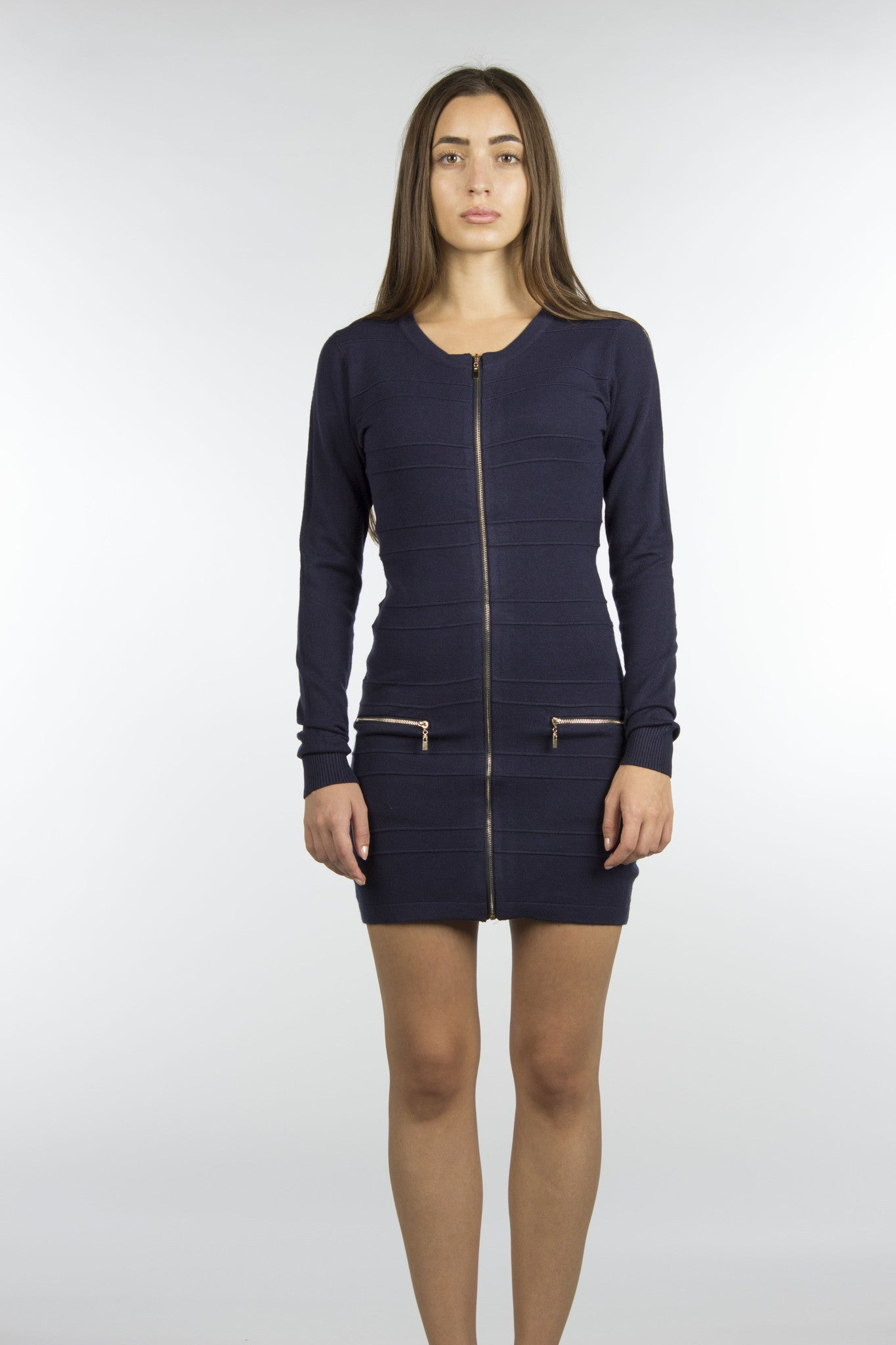 navy dress with front pockets and gold zippers
