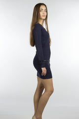 navy sweater dress with gold zippers