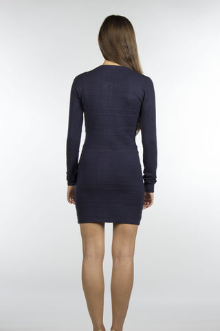 Navy Zipper Sweater Dress