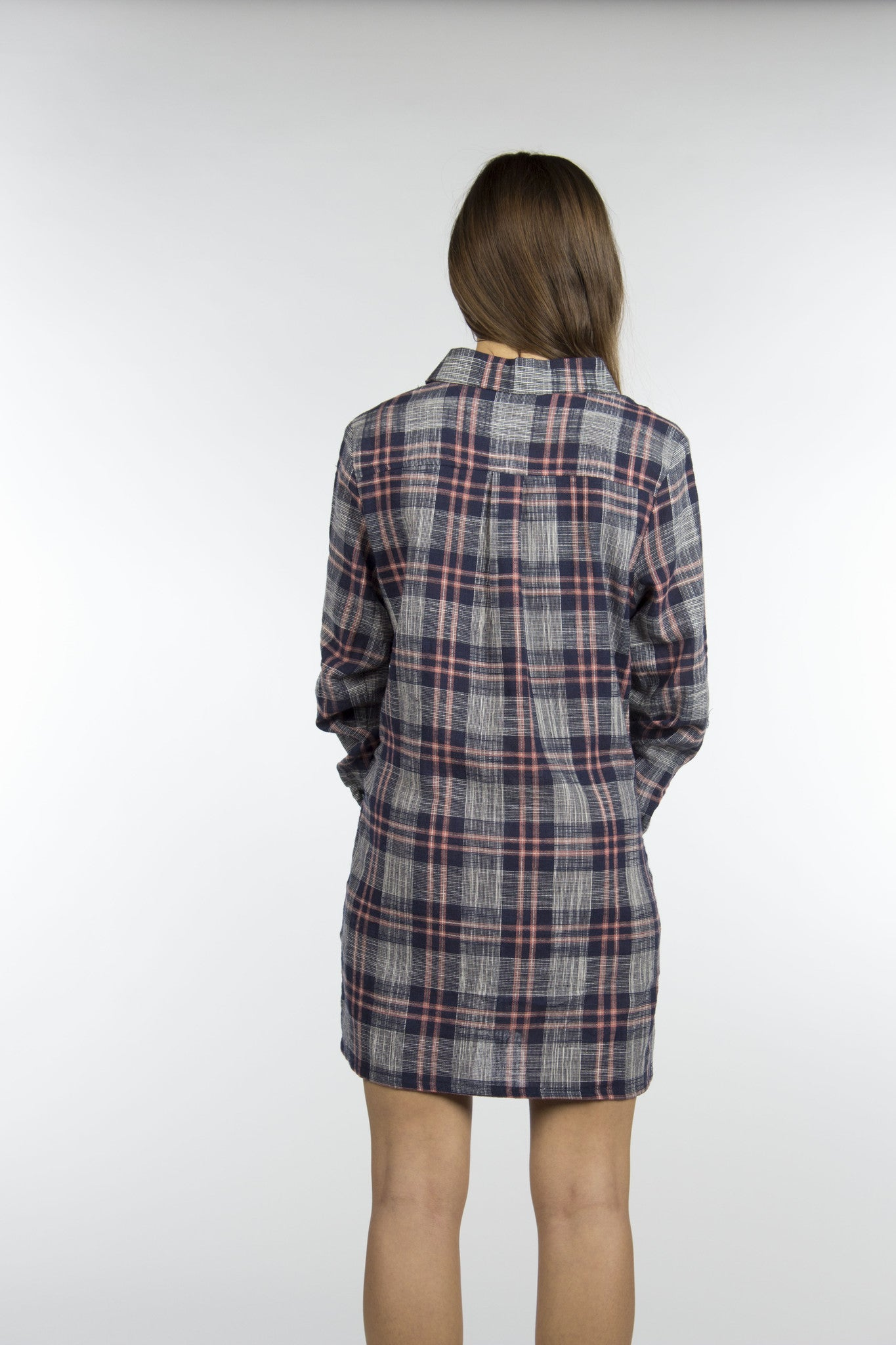 blue long sleeve flannel dress
