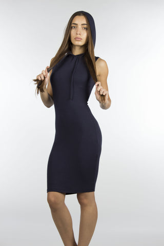 Navy hoodie bodycon dress