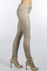cream skinny leather looking pants