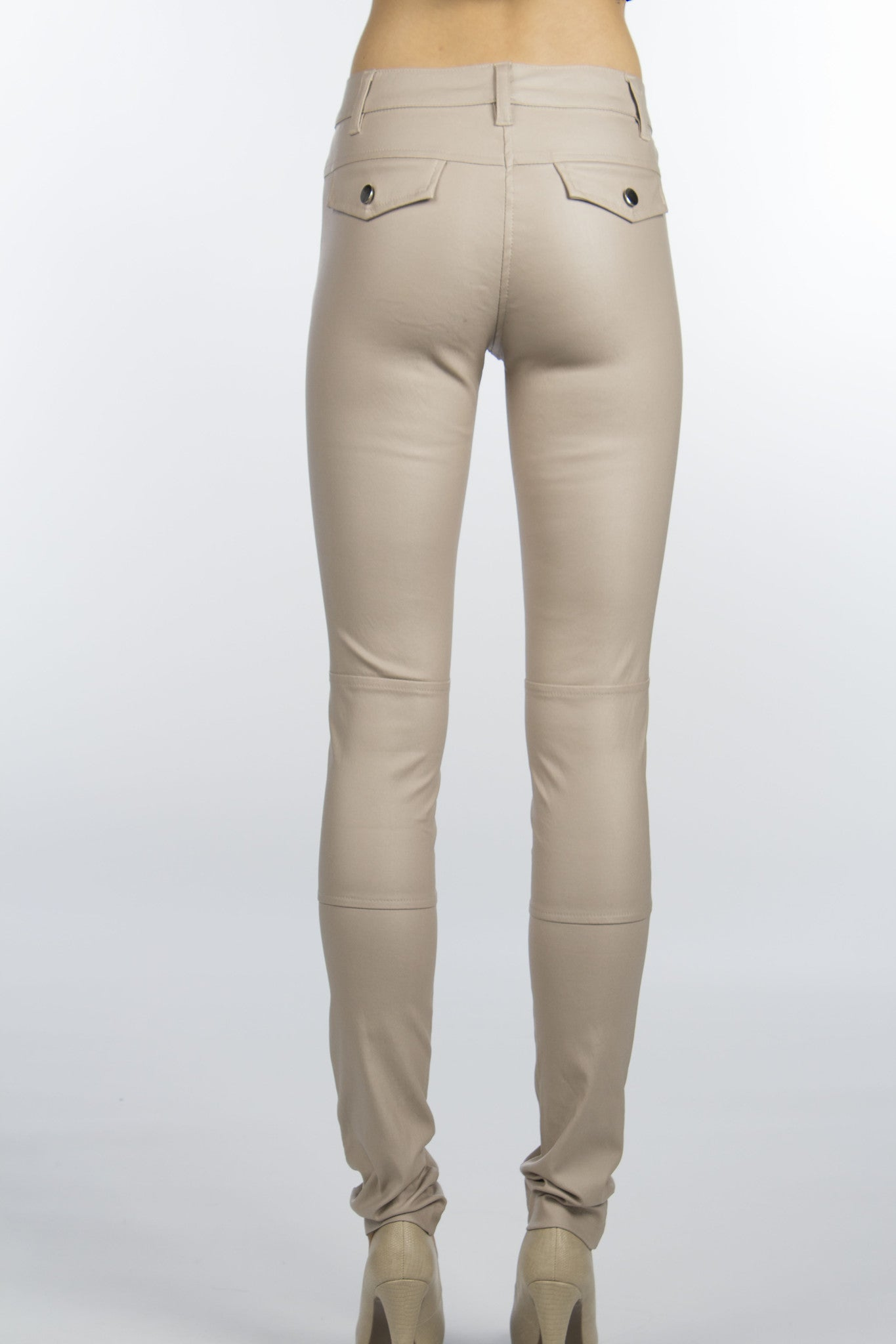 beige skinny pants with back flap pockets